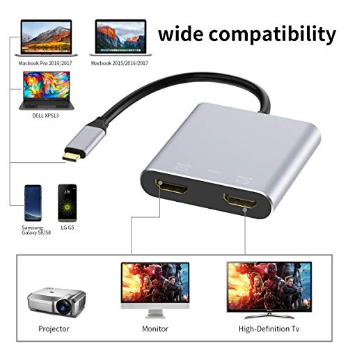 USB-C to Dual HDMI Adapter 4K @60hz, TOPOINT Type C to HDMI Converter Compatible MacBook/MacBook Pro 2016/2017/2018, MacBook Air 2018 Samsung Galaxy S9/S9+/S8/S8+, Surface Book 2 by TOPOINT (Image #3)