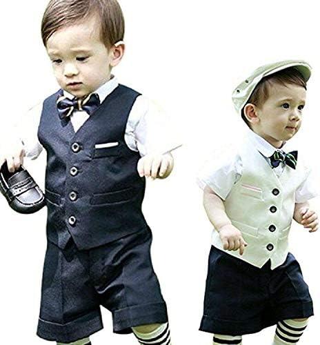子供スーツ ベビータキシード キッズスーツ フォーマル ベスト ズボン 蝶ネクタイ結婚式 発表会 七五三 卒園式 入園式 入学式 5点セット