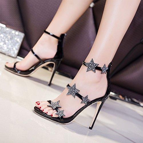 Estate ruvida punta con scarpe black sandali con sottili quadrata beige sandali fiocco di i ZHANGJIA Fashion Dolce RC5dwC