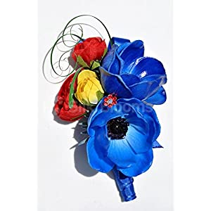 Gorgeous Corsage with Vibrant Blue Anemones and Roses 30