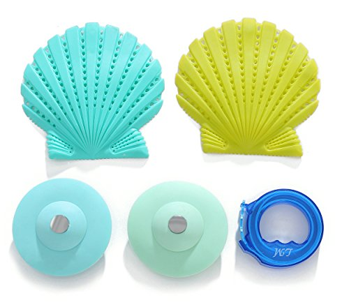 2pcs Drain Stopper +2pcs Drain Protector+ Remover Drain Snake, Solve the pipe jam set, Silicone Hair Catcher for Best Drain Cover & Hair Stopper Drain, Fit to All Size, Easy to Clean