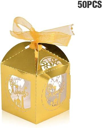 Luminiu Cajas Caramelo Dulces, Papel Regalos Caramelos Dulces Bombones Recuerdos Invitados Boda Fiesta Bautizo Comunion Graduación Bebé Sagrada Comunión Fiesta de Graduación Navidad o Varias Ocasiones: Amazon.es: Hogar