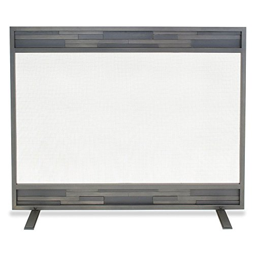 (Pilgrim Home and Hearth 18252 Lanier Single Panel Fireplace Screen, Natural Iron, 39