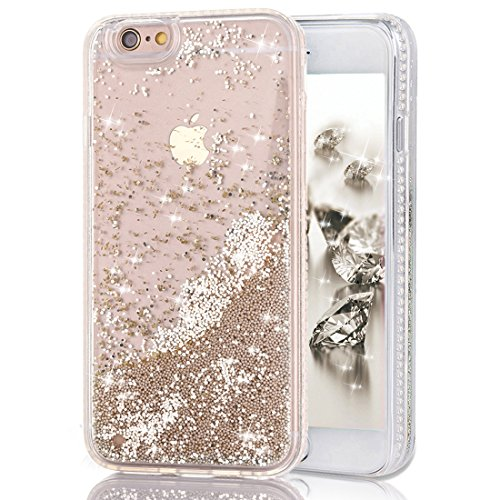 iPhone 6 Case, iPhone 6s Case, CRAZY PANDA New Back Case with Soft TPU Border 3D Moving Sparkle Pearlet and Dynamic Glitter Case for iPhone 6 6s - Champagne Pearlet Crazy Panda