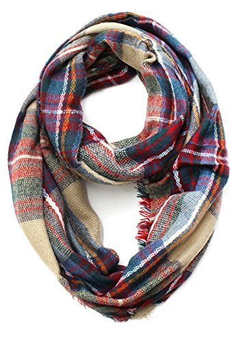 Plaid Scarf - Plum Feathers Premium Plaid Print Infinity Scarf (Camel with Frayed Edges)