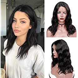 """WIGNEE Lace Front Middle Part Virgin Human Hair Natural Wave Wigs 100% Brazilian Human Hair Fashion Wave Wigs Natural Black Color (lace front16"""")"""
