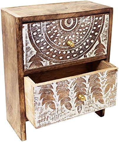 Schmuckkästchen aus Mango-Holz Schmuckschatulle Büro-Organizer Traumfänger-Dekor