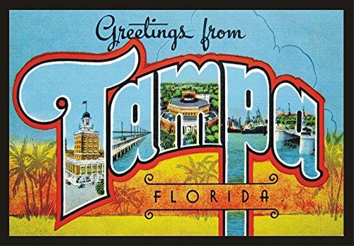 Greetings from Tampa Florida, FL, Vintage, Postcard, Souvenir Magnet 2 x 3 Fridge Photo Magnet