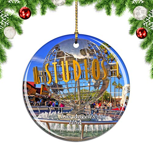 Weekino USA America Universal Studios Hollywood Los Angeles Christmas Xmas Tree Ornament Decoration Hanging Pendant Decor City Travel Souvenir Collection Double Sided Porcelain 2.85 Inch (Christmas Angeles Artificial Los Trees)