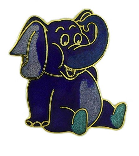 Lilylin Designs Blue Cloisonne Elephant Brooch Pin