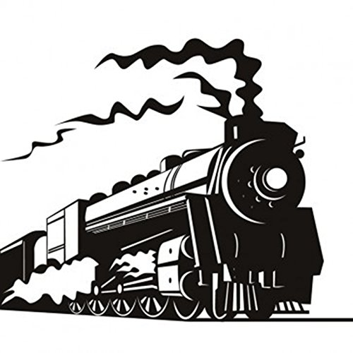 ufengke Black Steam Train Wall Decals, Children's Room Nursery Removable Wall Stickers Murals