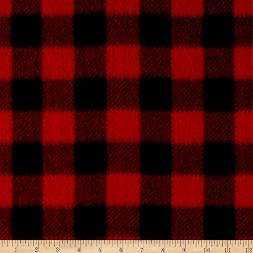 Winter Fleece Buffalo Plaid Red Fabric By The Yard (Plaid Fleece Comforter)