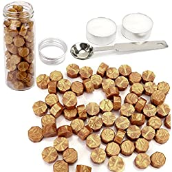 Gold Wax Seal Beads, Yoption 150 Pieces Octagon Sealing Wax Sticks Beads with Candle Melting Spoon for Wax Seal Stamp (Gold)
