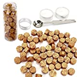 gold seal wax - Gold Wax Seal Beads, Yoption 150 Pieces Octagon Sealing Wax Sticks Beads with Candle Melting Spoon for Wax Seal Stamp (Gold)