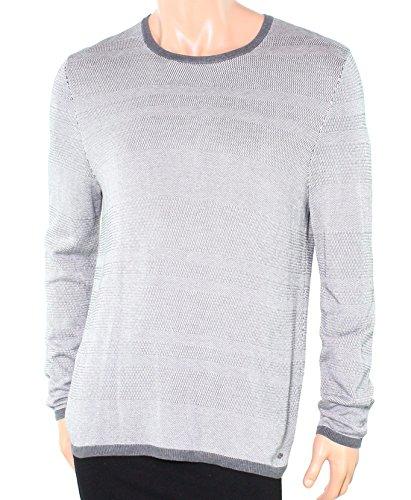 Alfani Textured Striped Mens Crewneck Silk Sweater Gray 2XL ()