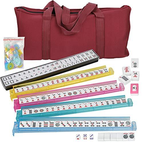 (American Mahjong Set - 166 Tiles,4 All-in-One Rack/Pushers W/ Soft Bag Full Size Complete Western Mah Jongg)