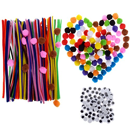 AwenSun 400 Pcs Crafting Kit including 200 Pipe Cleaners, 100 Pom Poms, 100 Wiggle Eyes , For Children DIY Handmade Education Toy , Creativity Developing Kids DIY Toys Party