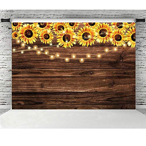 Sunflower Party Supplies (MMY 7x5ft Sunflower Wooden Floor Texture Backdrop Baby Shower Wedding Birthday Party Banner Decor Supplies Sunflower Theme Party Photography Background Photo Booth)