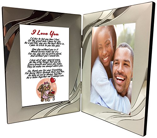 I Love You Gift for Wife or Husband, Sentimental Romantic Poem 4x6 Silver Double Picture Frame, Anniversary, Wedding, Valentines, Mothers Day, Birthday Present - Add A Photo by Words Matter Gifts (Valentines Presents For Wife)