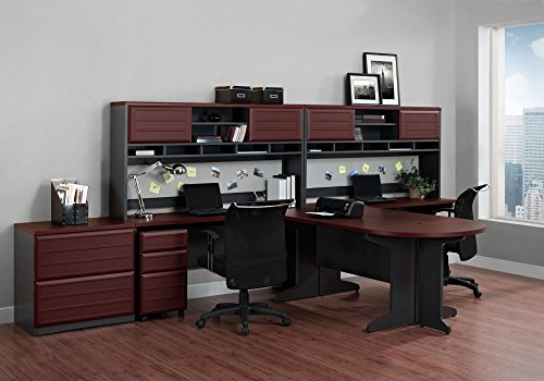 amazoncom altra pursuit lshaped desk with hutch bundle cherrygray kitchen u0026 dining