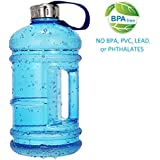 Wesoke 2.2L/75OZ Large Water Bottle, Big Capacity Leak Proof BPA Free PETG Plastic Sports Jug with Handle, Half Gallon Huge Hydrate Drinking Container for Outdoor Fitness Travel Gym Biking (Blue)