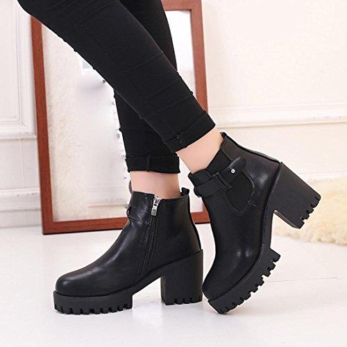 Ama (tm) Femmes Plates-formes En Cuir Carré Talon Bottes Haute Pompe Martin Bottes Chaussures Noir