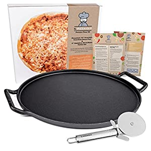 "Il Pizzaiolo Ultimate Pizza Stone - 14"" Cast Iron Pizza Pan Set - Pre-Seasoned Baking Stone with Easy Grip Handles and 3"" Pizza Slice Cutter"