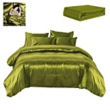 Green and Purple Duvet Set Todd Linens Sexy Satin Sheets 6 Pcs Queen/King Bedding Set 1 Duvet Cover + 1 Fitted Sheet + 4 Pillow Cases (Many Colors) Olive Green Queen