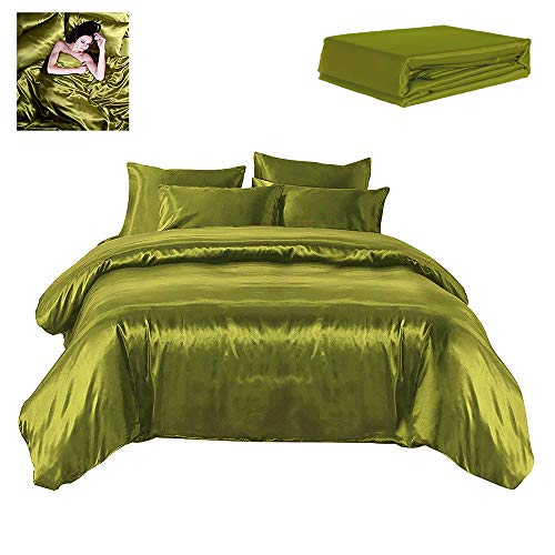 Todd Linens Sexy Satin Sheets 6 Pcs Queen/King Bedding Set 1 Duvet Cover + 1 Fitted Sheet + 4 Pillow Cases (Many Colors) Olive Green - Cover Piece Comforter 6 Duvet
