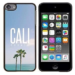 TECHCASE---Cubierta de la caja de protección para la piel dura ** Apple iPod Touch 6 6th Touch6 ** --California palmeras cielo de verano el sol
