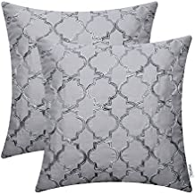 Pack of 2 CaliTime Faux Silk Throw Pillow Covers Cases for Home Sofa Couch 18 X 18 Inches, Gradient Quatrefoil Accent Geometric Chain Embroidered, Gray