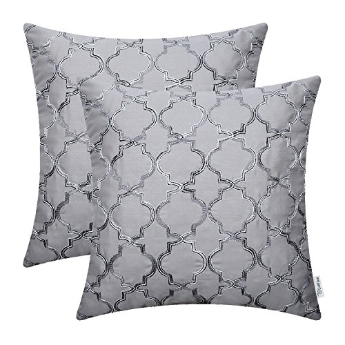 CaliTime Pack of 2 Faux Silk Throw Pillow Covers Cases for Sofa Couch Home Decoration 18 X 18 Inches Gradient Quatrefoil Accent Geometric Chain Embroidered Gray ()