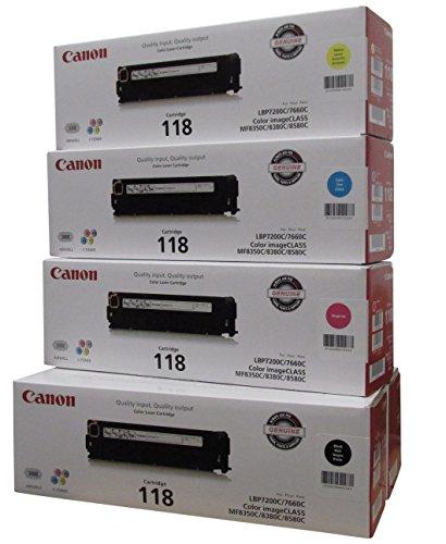 Original Canon 118 (5 Pack Toner Set) 2 Black Toner Value Pack, and 1 Cyan, Magenta, Yellow Toner 1 Pack Magenta Toner