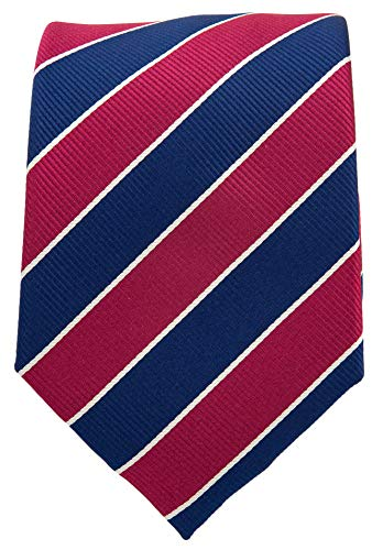College Striped Ties for Men - Woven Necktie - Navy Blue w/Burgundy