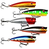 A-SZCXTOP Lot 5pcs 9g 7cm Fishing Topwater Floating Popper Poper Lure Hooks Bait Crankbait