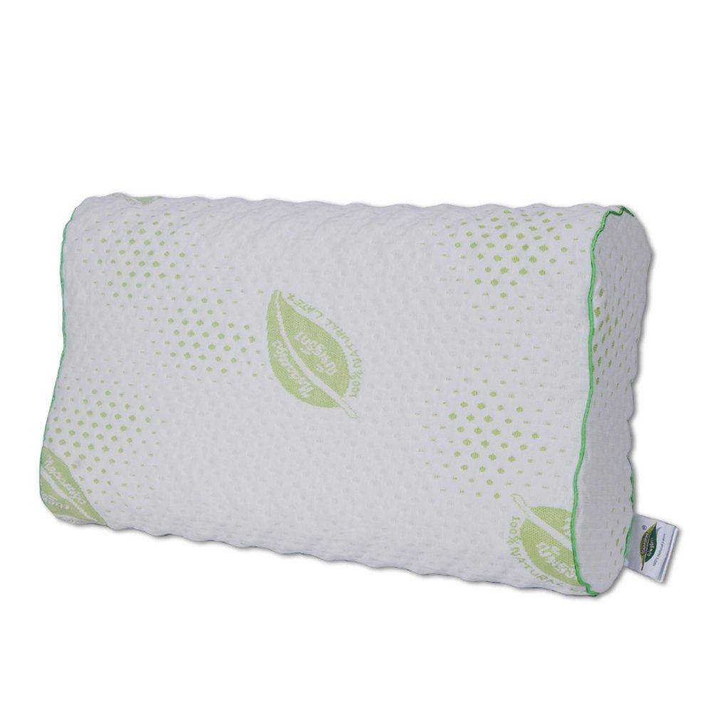 Thailand Napattiga Dunlop 100-Percent Natural Negative Ion Latex Foam Pillow Contour, Standard Size