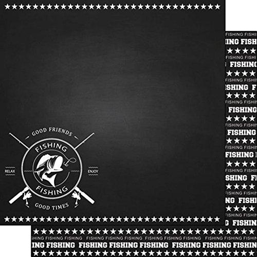 Fishing Chalkboard Sports (37308) 12 inch x 12 inch Double-Sided Scrapbook Paper - 1 Sheet