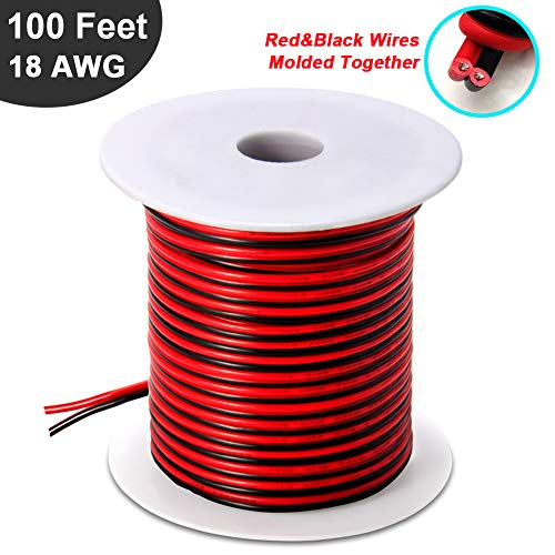 100FT 18 AWG Gauge Electrical Wire, Premium DC 12v Hookup Red Black Copper Stranded Auto 2 Cord, Flexible Extension Cable with Spool for LED Ribbon Lamp Light or Low Voltage ()