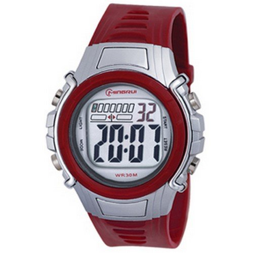 Montre Concept - Relojes digitales hombre Mingrui - Correa Plástico Rojo - Dial Redondo Fondo Gris: Amazon.es: Relojes