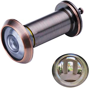 """Door Viewer Peephole, Safety Door Viewer, Solid Brass 220-degree Door Viewer with Heavy Duty Rotating Privacy Cover for 1-3/8"""" to 2-1/6"""" Doors for Home Office Hotel"""