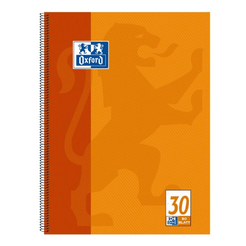 Oxford 100050359 Collegeblock, A4+, blanko, 80 Blatt, 90 g/m²Optik Paper, 10er-Pack, orange