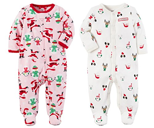 Carters Girls or Boys Babys First Christmas 2 Piece Santa Sleep and Play Set (Newborn, Pink Fleece and White Cotton)
