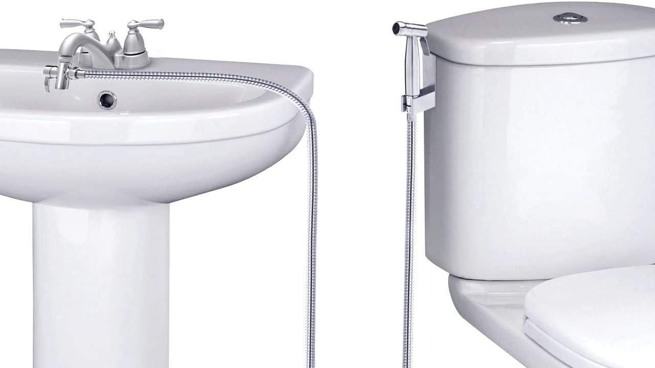 SmarterFresh Faucet Bidet Sprayer for Toilet – Warm Water Handheld Sprayer with Sink Hose Attachment for Bathroom Plastic
