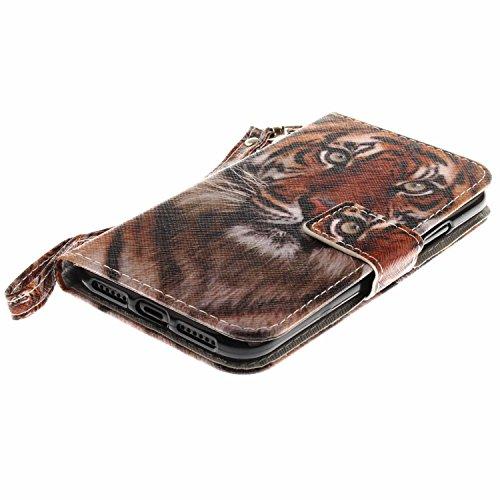 Coque iPhone X Tiger King Portefeuille Fermoir Magnétique Supporter Flip Téléphone Protection Housse Case Étui Pour Apple iPhone X / iPhone 10 (2017) 5.8 Pouce + Deux cadeau