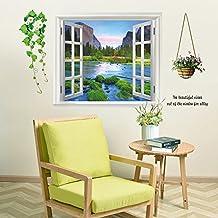 3D Landscape Fake Window Sticker Wall Decals Art Wallpaper Murals Wall Stickers Peel & Stick