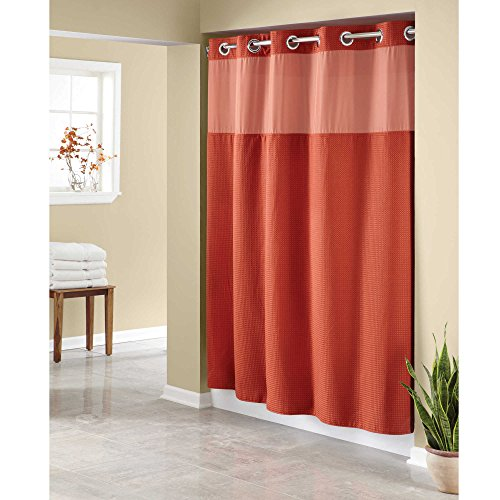 Hookless Waffle Fabric Shower Curtain - Size : 71