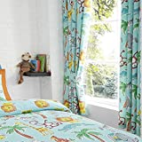 Happy Linen Company Childens Jungle Safari Animals Lion King Teal 66' x 72' Pencil Pleat Curtain Set