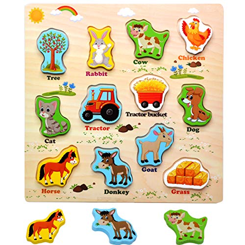 GYBBER&MUMU Wooden Farm Board Puzzles Set 12 Pieces Animals Car Shapes Puzzle for Early Educational Recognition Toys
