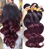 Jaycee Hair 7a Brazilian Virgin Hair body wave Weft 3 Bundles 100% Ombre Human Hair Extensions Color #1b/99J (100+/-5g)/pc(10+12+14)