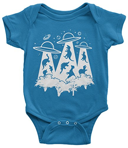 Threadrock Baby Dinosaur Alien Abduction Infant Bodysuit 6 Months Turquoise